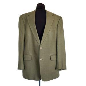 Brooks Brothers Olive Raw Silk Blazer Jacket 42